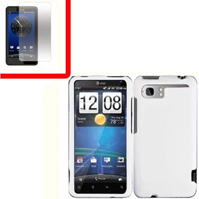 For HTC Vivid / Raider LTE 4G Cover Hard Phone Case White + Screen 2-in-1