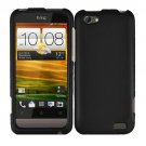 For HTC One V Cover Hard Phone Case Black + Screen Protector 2-in-1