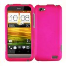 For HTC One V Cover Hard Phone Case Hot Pink + Screen Protector 2-in-1