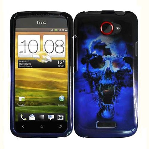 For HTC One X Cover Hard Phone Case Blue Skull + Screen Protector 2-in-1