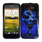 For HTC One X Car Charger + Cover Hard Case Blue Skull +Screen Protector