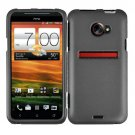 For HTC Evo 4G LTE Cover Hard Phone Case Gray + Screen Protector 2-in-1