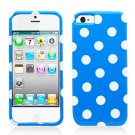 For Apple iPhone 5 / iphone5 Cover Blue Polk Dot Hard Case +Screen Protector