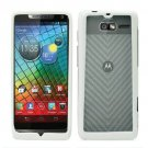 For Motorola Electrify M Phone Case Soft Edge White/Frosted Clear Hard Cover +Screen Protector