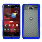 For Motorola Electrify M Phone Case Soft Edge Blue/Frosted Clear Hard Cover +Screen Protector