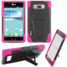 Phone Case For LG Splendor / Venice US730 Hard Black/Pink Soft Corner Hybrid Cover + Stand
