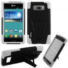 Phone Case For LG Splendor / Venice US730 Hard Black/White Soft Corner Hybrid Cover + Stand