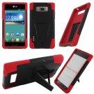 Phone Case For LG Splendor / Venice US730 Hard Black/Red Soft Corner Hybrid Cover + Stand