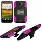 Phone Case For HTC One X + Hard Cover Black /Pink soft edge + Kick Stand