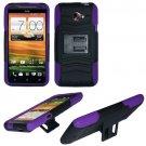 Phone Case For HTC Evo 4G LTE Hard Cover Black /Purple soft edge + Kick Stand