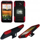 Phone Case For HTC Evo 4G LTE Hard Cover Black /Red soft edge + Kick Stand