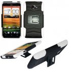 Phone Case For HTC Evo 4G LTE Hard Cover Black /White soft edge + Kick Stand