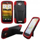 Phone case For HTC One VX Hard Case Black/Red soft Corner Cover w Kick Stand