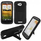 Phone case For HTC One VX Hard Case Black/Black soft Corner Cover w Kick Stand