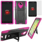Phone Case For HTC Droid DNA / ARD6435 Hard Case Black/Pink soft edge Cover Stand +Screen