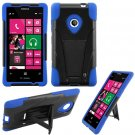 Phone Case For Nokia Lumia 521 520 Silione Corner Blue/Black Hard Cover Stand