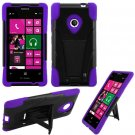 Phone Case For Nokia Lumia 521 520 Silione Corner Purple/Black Hard Cover Stand