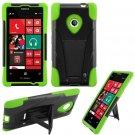 Phone Case For Nokia Lumia 521 520 Silione Corner Neon Green/Black Hard Cover Stand
