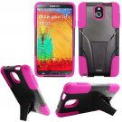 Phone Case For Samsung Galaxy Note 3 Silione Corner Pink/Black Hard Cover Stand