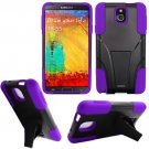Phone Case For Samsung Galaxy Note 3 Silione Corner Purple/Black Hard Cover Stand