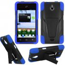 Phone Case For Huawei Valiant / Huawei Ascend Plus Silione Corner Blue/Black Hard Cover Stand