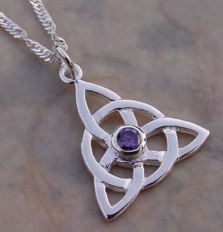Amethyst Purple Charmed Celtic Knot Necklace CH-AM Sterling Silver Pendant and Chain