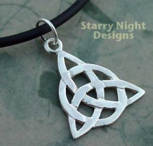"""Charmed Necklace CH2BC16 Sterling Silver Triquetra Celtic Knot Pendant on 16"""" Black Cord"""
