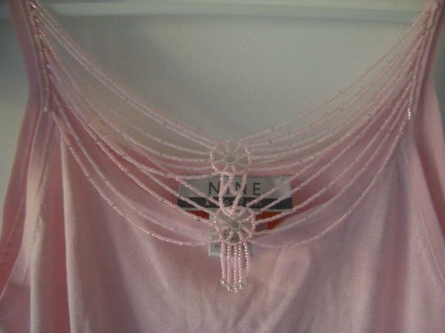 Nine West Pink Camisol Top w/ Beaded Jewlery