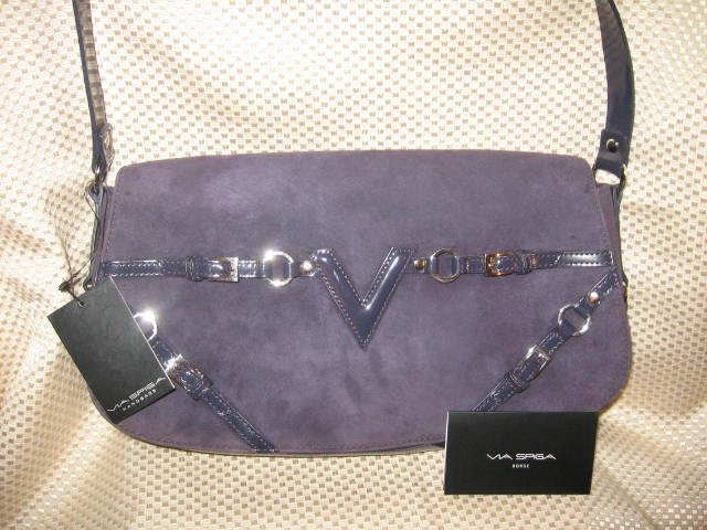 Via Spiga Purple Suede Leather Handbag Purse New
