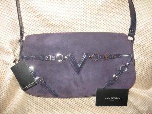Via Spiga Purple Suede Leather Handbag Purse New