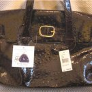 Nine West Dark Brown Leather-like Ostrich Design Tote Handbag Purse New
