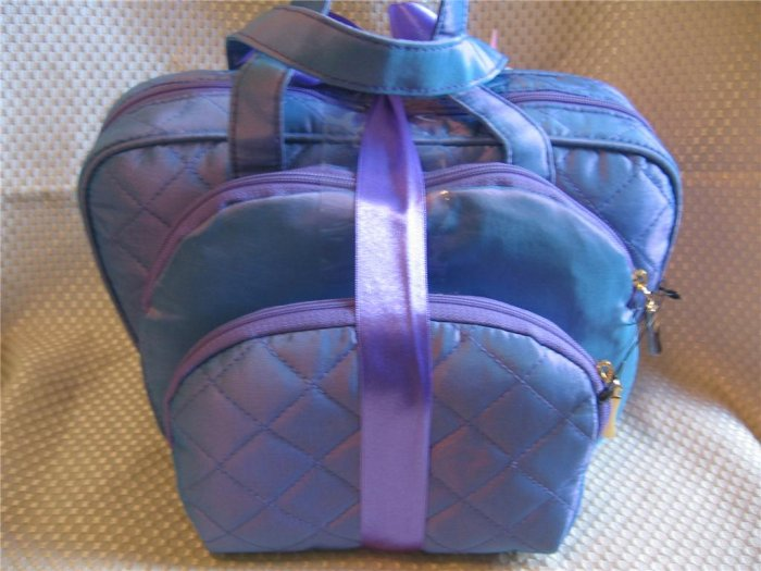 Large Iridescent Blue 3 Pcs Cosmetic Bag Travel Set New