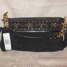 Maxximum Black Suede Leather Gold Accents Handbag Purse New