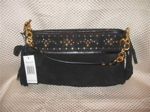 Maxximum Black Suede Leather Gold Accents Handbag Purse New