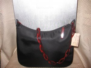 Donna Karan DKNY Black Microfiber w/ Red Lucite Strap Handbag Purse New
