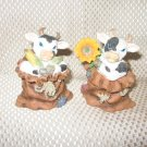 Set of 2 Cows Each in Burlap Sacks Figurines New