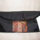 Echo Black Microfiber Mult-Color Paisley Detail Handbag Purse New