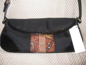 Echo Black Microfiber Mult-Color Paisley Detail Handbag Purse New