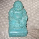 Laughing Buddha Statue Stained Turquoise New