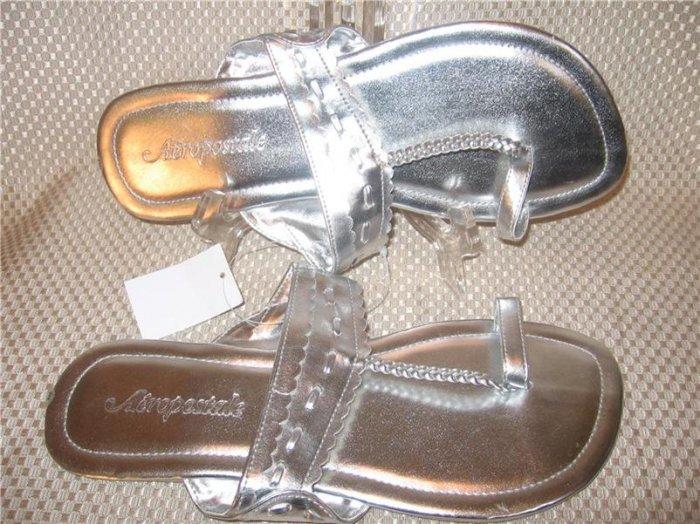 Aeropostale Silver Flip Flop Thong Sandals Shoes Size 9 M New