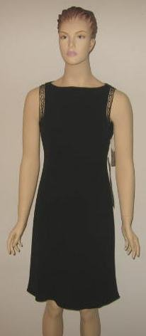 Jones New York Black Cocktail Dress w/ Beading Detail Size 6 New