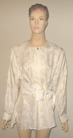 Bob Mackie White Silk Blouse & Matching Sash Size L New