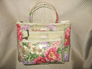 3 Pcs Tan with Floral Design Cosmetic Bag Travel Set New