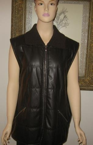 Bianca 46 Dark Brown Vest Jacket Knit Collar Size L  XL New