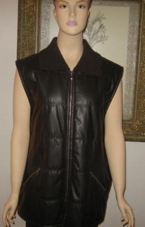 Bianca 46 Dark Brown Vest Jacket Knit Collar Size L  XL New