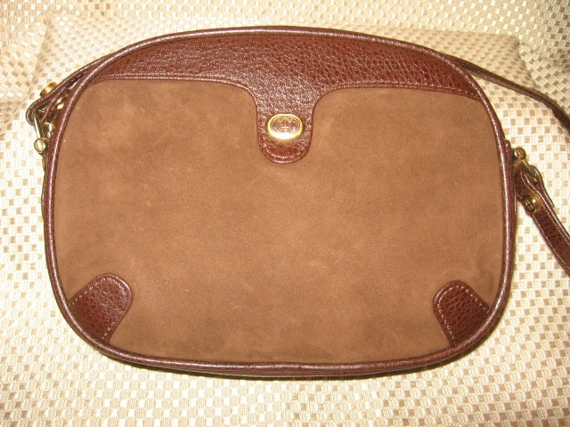 Vintage Gucci Brown Leather Suede Handbag Purse