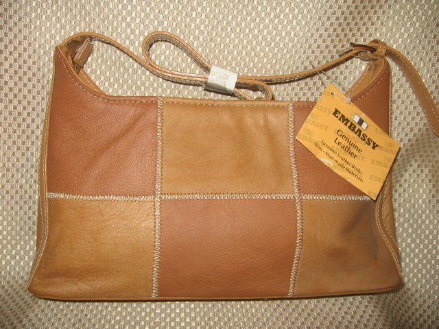 Embassy Light Brown Patchwork Design Leather Purse Handbag New