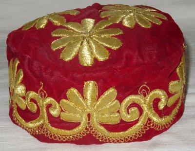 UZBEK HAND GOLD EMBROIDERY VELVET RED SKULL-CAP BUKHARA