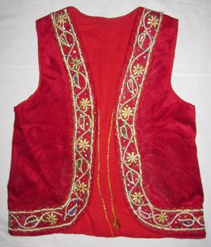 VINTAGE UZBEK HAND GOLD EMBROIDERED RED VELVET VEST
