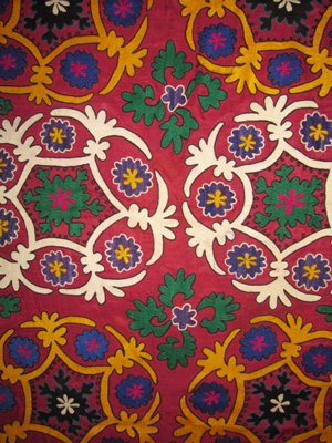 VINTAGE UZBEK SILK HANDMADE EMBROIDERY BEAUTIFUL SUZANI